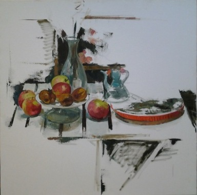 Nature morte aux pommes - huile sur toile - 100 x 100 cm