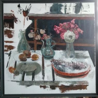 Nature morte à la fleur d'ail - huile sur toile - 80 x 80 cm